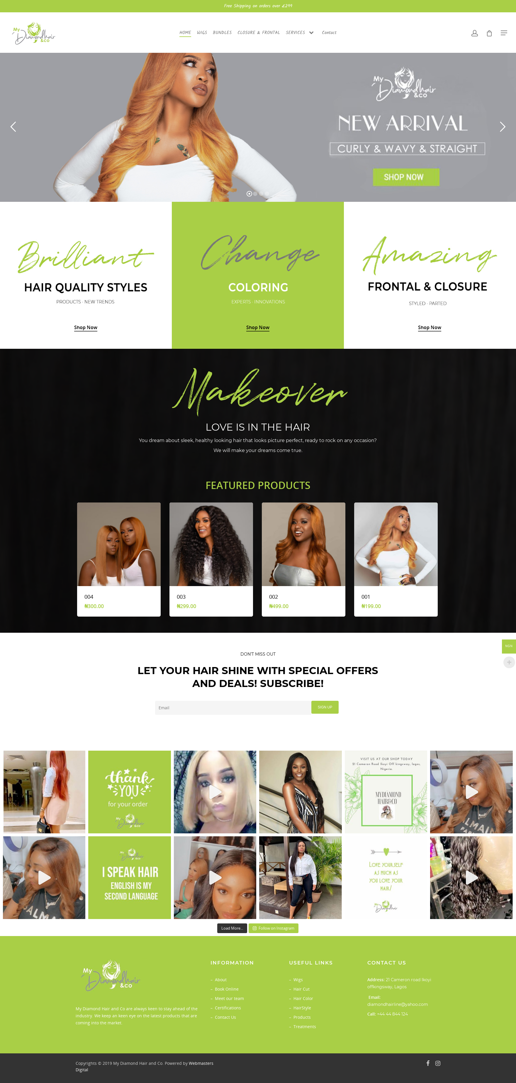Online Shopping Website development for my diamond hair and co